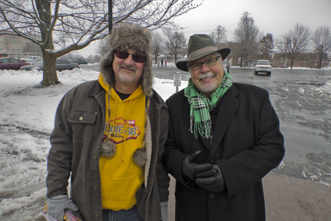 Greg Burris and Bob Stephens hanging out before the Christmas Parade