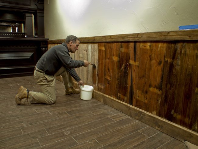 Gordon applied  a water based finish onto the wainscoating at The Farmer's Gastro Pub in the Brentwood Center.  Gordon applied  a water based finiish onto the wainscoating at The Farmer's Gastro Pub in the Brentwood Center.