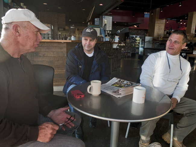 Three housemates; Bill, Jason and Gordon out for morning coffee at Mama Jean's on Republic Road