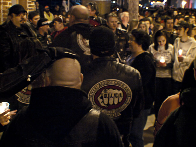 Bikers Against Child Abuse at the vigil for Hailey