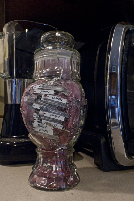 """The Forbidden Candy Jar"" Candy jar, 2 years of used glucose test strips and wax"