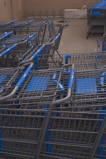 Bicycle Rack and Shopping Cart Composition in blue, gray and tan