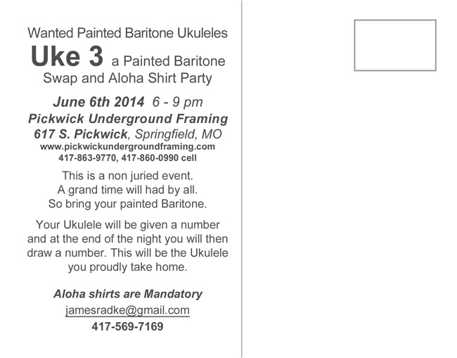The back of the Uke 3 postcard