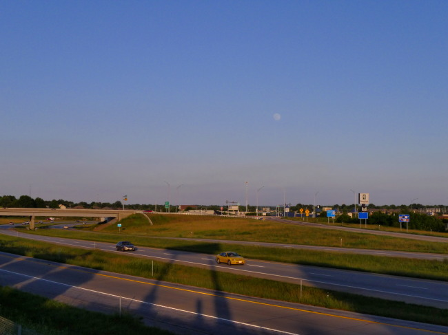 "The waxing ""Honey Moon"" rose over the James River Freeway on Wednesday evening."