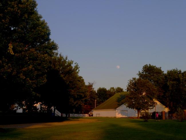 Moonrise over Lester's barn