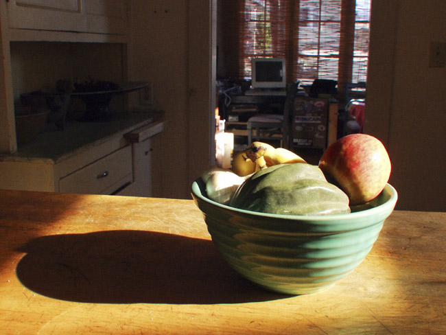 Table top still-life in Oakland kitchen, circa 2003
