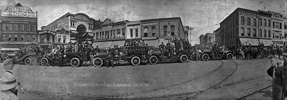 The Springfield Fire Department took possession of it's very first fleet of gasoline powered fire engines on May 4th 1913. The new fire fighting equipment was put on public display, May 10,1913. On June 9th, 1913 there was a major fire on the square, that started in the Heer's building and leveled all the buildings on the south of St Louis Street at the time. These new fire trucks were not used to fight this major fire because the firemen did not how to pull out the chokes when they tried to start the engines. The old Heer's building stood where the Fox Theater was which is part of the Springfield History Museum now.