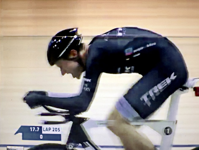 Jens Voigt at the age of 43 has just set a new hour record at the Swiss Velodrome