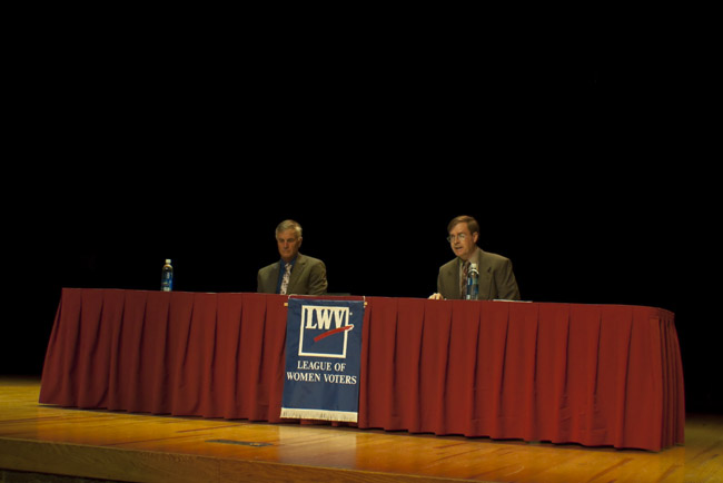 Democrat - Jim Evans, Libertarian - Kevin Craig and an absent Republican - Billy Long  at last night's League of Women Voters Forum. Billy Long's staff stated his voting record would be adequate to support his stance. His staff will not disclose the where abouts of Representative Billy Long during this election season.