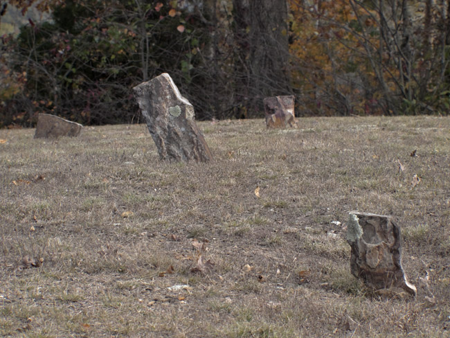 The unmarked graves in the Wayton Cemetery. I do not know if the unmarked field stones were Potter's graves or the graves of slaves