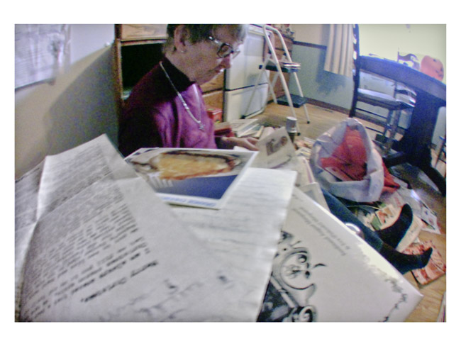 My mother Eileen, throwing away her treasure trove of collected recipes, A Little Cyclops portrait