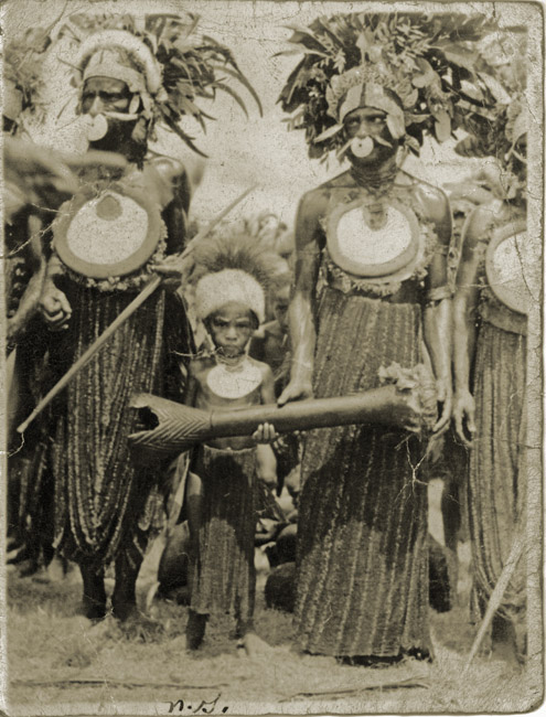 A soldier's snapshot. New Guinea head hunting tribesmen, circa 1944. This print was given to me when I was around 11 years of age from a dear family friend, Mert.