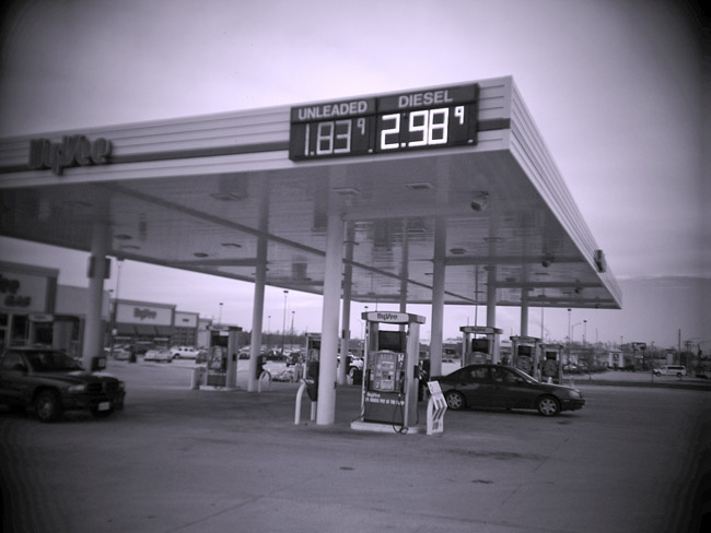 Today's price of gas, $1.83 a gallon, a Digital Diana photo.