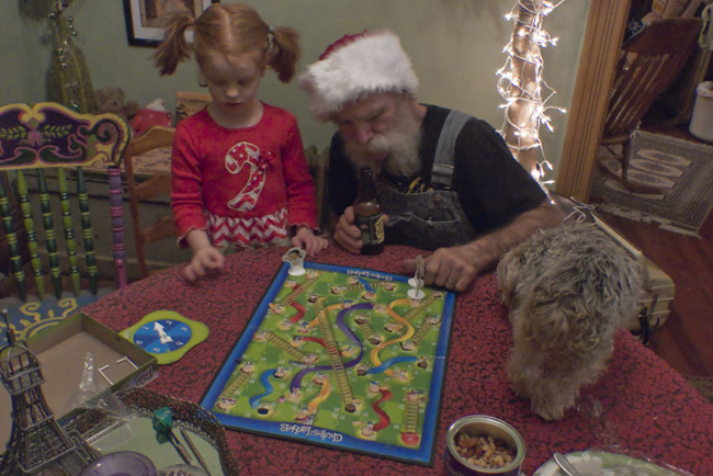 Chris and his grand daughter and Little Bit played Chutes and Ladders