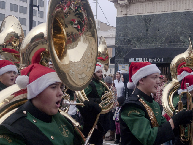 The Parkview Viking's Marching Band, sousaphone section marched in the Christmas Parade