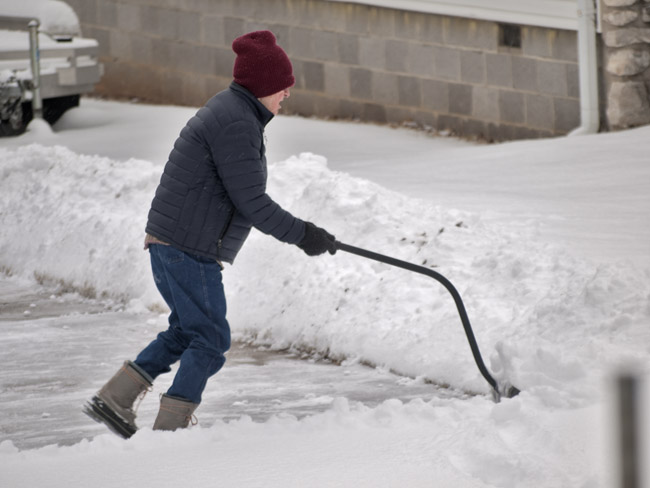 Fred shoveling snow