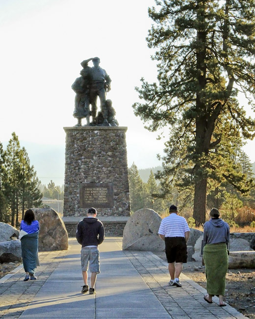 A more recent view of the Donner Party Memorial by B. Straford