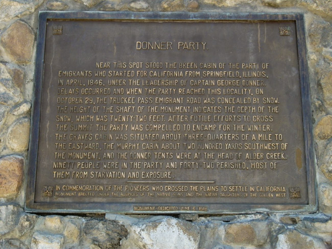 The Donner Party Memorial plaque