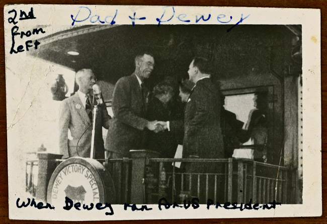 My grandfather Walter Sprick shook hands with Thomas Dewey on his 1947 Whistle Stop in Julesburg, Colorado. My grandfather was chosen by the local Republican Party to shake the hand of Presidential candidate Thomas Dewey.