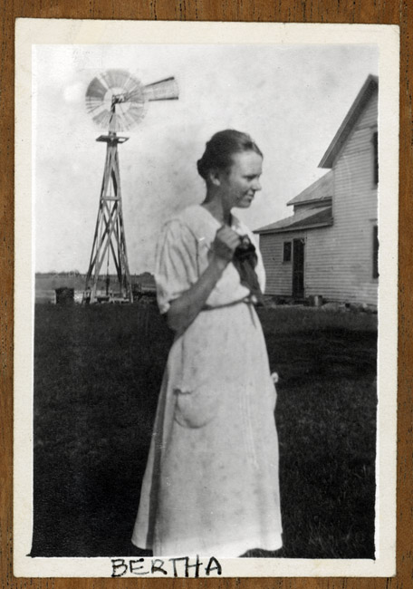 A portrait of my Grandmother Bertha Blanche Kingston on the family farm outside of Arborville, Nebraska