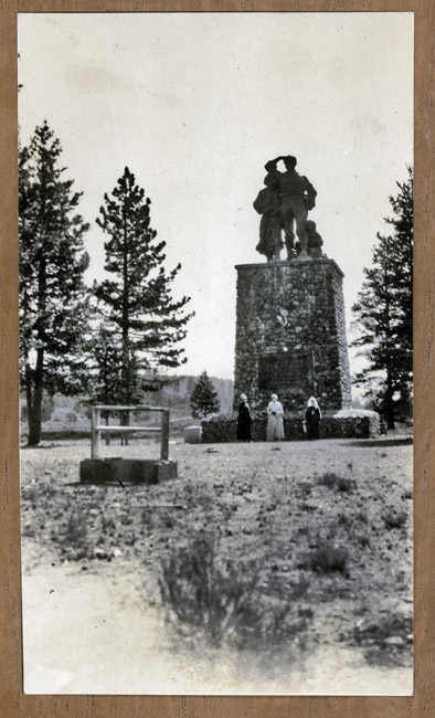 My grandmother Bertha Sprick and her mother Catherine Deich Kingston visited the Donner Party Memorial in the late 1930's. Unfortunately I cannot identify anybody in the photo.