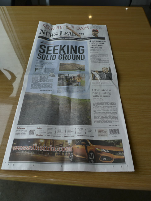 Sierra Club's, White River Group has made the front and back page of the News-Leader this morning