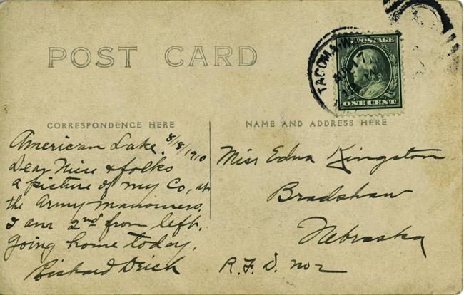 Richard's note home from Tacoma, Washington