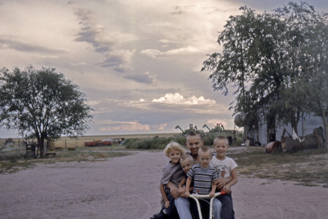 Today would have been my father's 80th birthday. My dad Bernard James Radke to my sister Elisa, Greg, Mike and myself for a ride on the riding lawn mower on the family farm on the Colorado/Nebraska state line road.