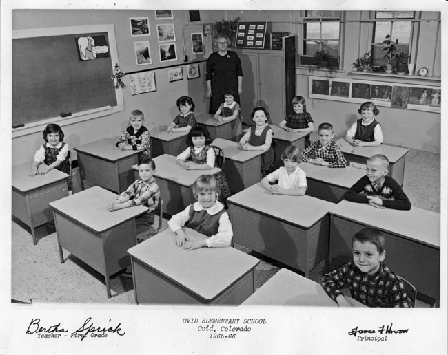 Family Photos - My Grandmother Bertha Blanche Kingston-Sprick in her classroom in Ovid, Colorado, circa 1965. Ask  any elementary teacher currently teaching in the United States if they have had a class with only 14 students.