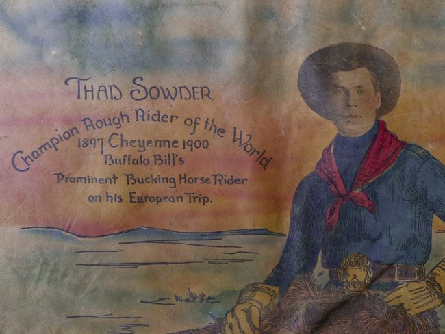 Thad Sowder, Champion Rough Rider of the World, Cheyenne 1897 and 1900. Buffalo bill's prominent bucking horse rider on his European Trip