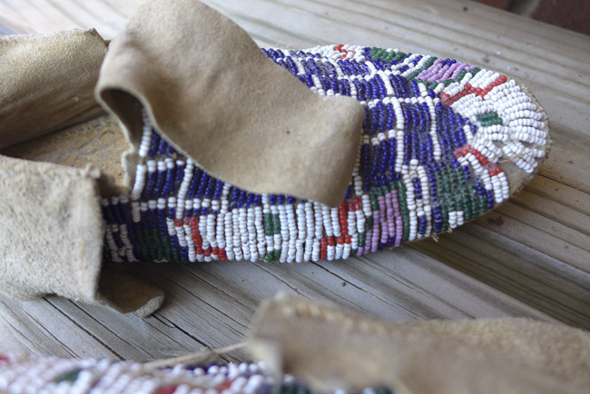 Beaded Indian Moccasins, beaded design
