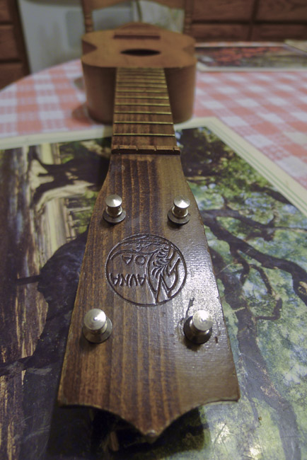 The headstock of a Mauna Loa soprano ukulele, circa 1920's