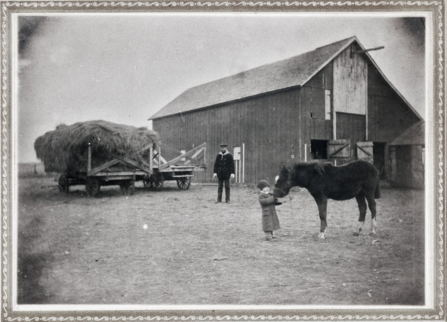 Feeding the pony, circa 1907 this photo is probably my aunt Esther Sprick