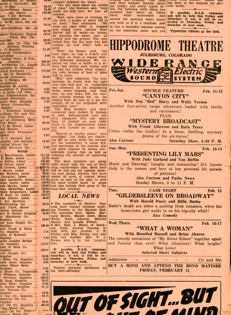 Movies at the Hippodome, Julesburg Grit Advocate, February 10, 1944