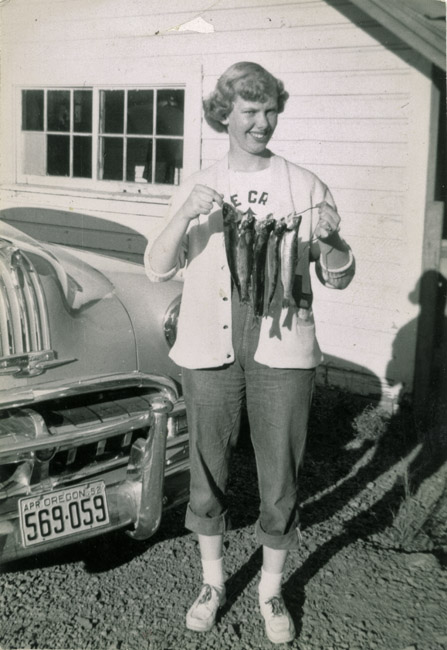 Eileen Sprick Radke's first Trout, circa 1953. Eileen's success was a sore thorn in her father's side because he never landed a trout.