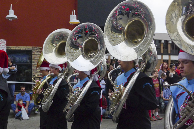 The Glendale Marching Band was a reflection in their Tuba bells