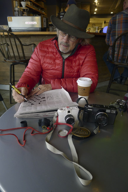 Cameras, coffee and crossword puzzle with David Massey at Mama Jean's on Republic Road