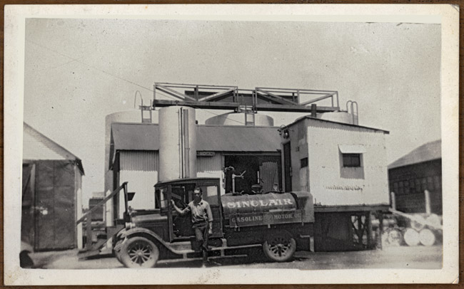 Walter Sprick and his Model-T Sinclair gasoline truck
