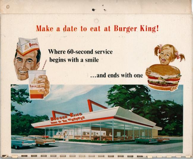 Burger King Calendar, circa 1968
