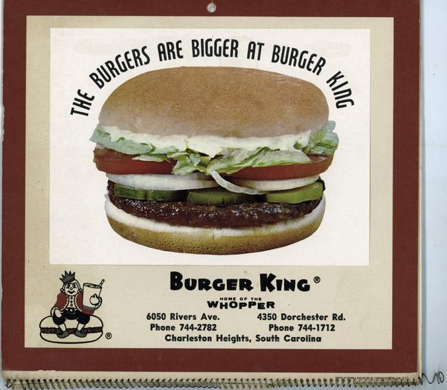 Burger King Calendar, circa 1969