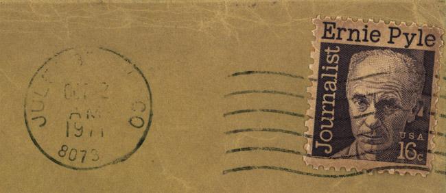 """Postmarked """"Ernie Pyle, Journalist"""" stamp"""