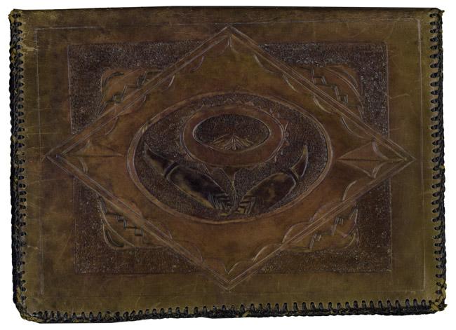 Hand-tooled leather stationary folio, circa 1925