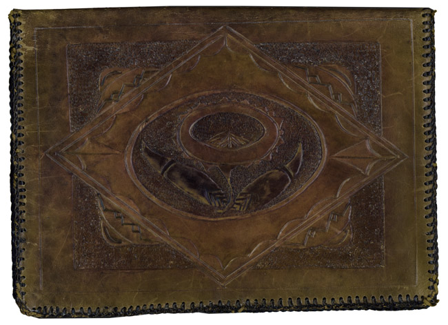 Hand-tooled leather stationary folio, circa 1925