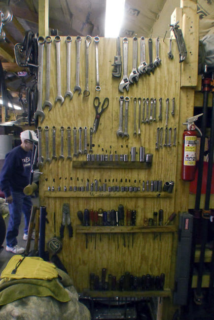 Fred's plywood wall of tools