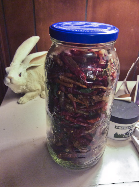 Cayenne Peppers in a jar