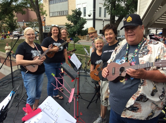 Warming up the first Uke 66 crowd concert on Springfield's, Park Central Square.