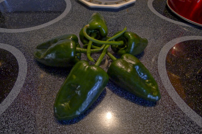Poblanos, some of us play with their food