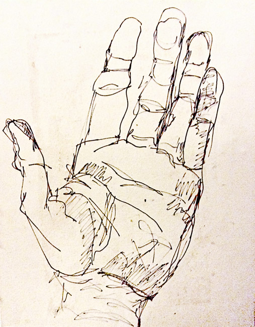 A drawing of my left hand with elongated fingers