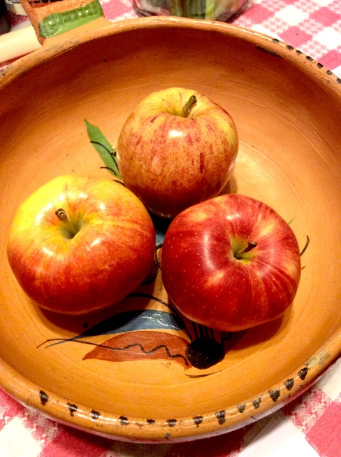 Three Gala apples