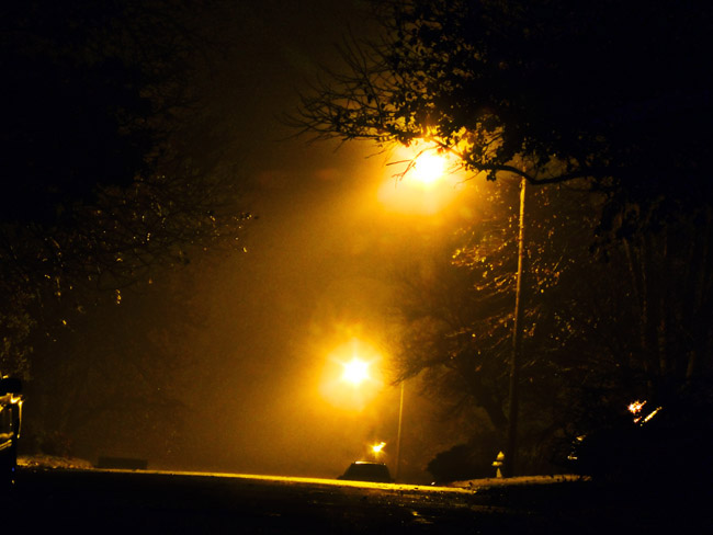 A foggy night on South Ferguson Ave